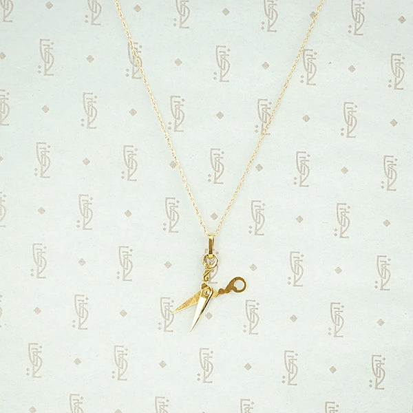 Wee Gold Scissors Charm Necklace