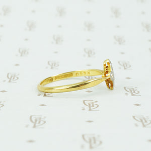 platinum on 18k yellow gold diamond checker ring side view