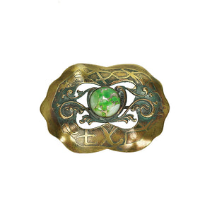 edwardian sash pin chinese style with green gem