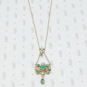 austro-hungarian chrysoprase and mother of pearl pendant in giltsilver