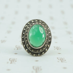 deco marcasite sterling and chrysoprase ring