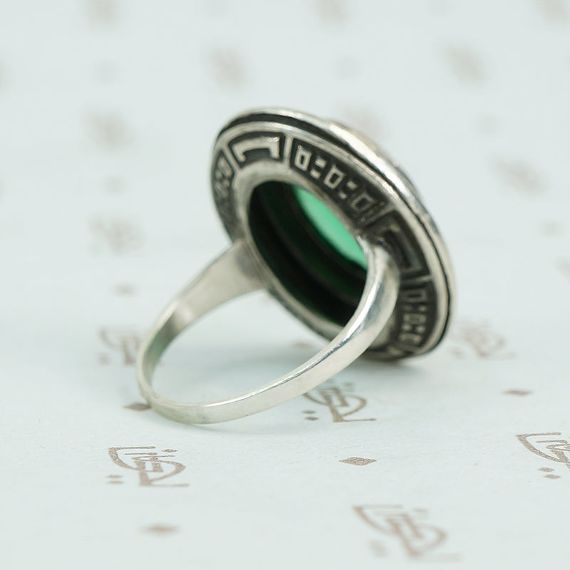 1920's Green Chrysoprase and Marcasite Ring