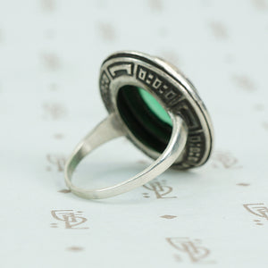 deco marcasite sterling and chrysoprase ring side view