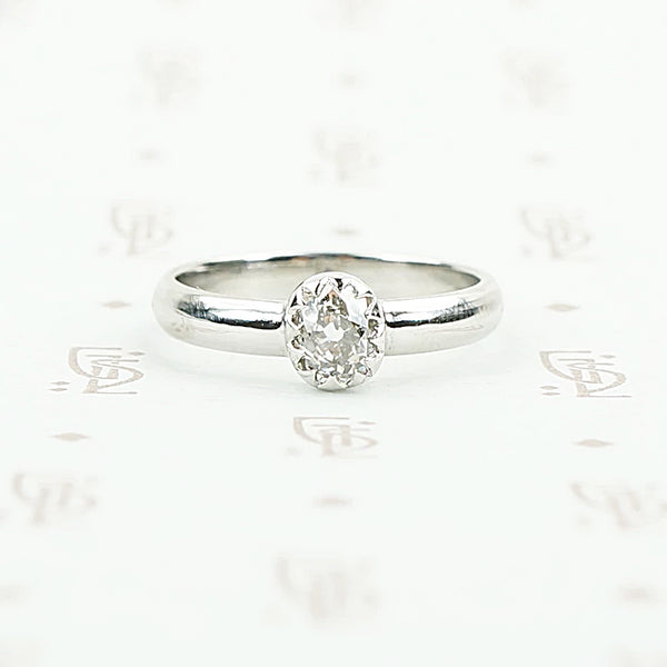 The Chunky Mine Cut Diamond Ring in Platinum by GSL