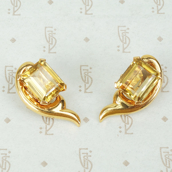 retro 14k yellow gold and emerald cut citrine clip on earrings