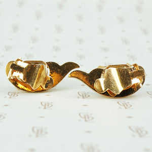 Vintage 1940's Retro Rose Gold and Citrine Ear Clips