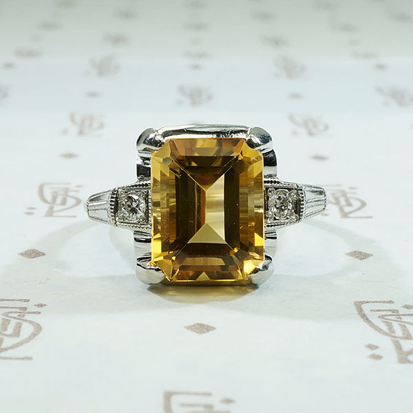 Retro Citrine Cocktail Ring in White Gold