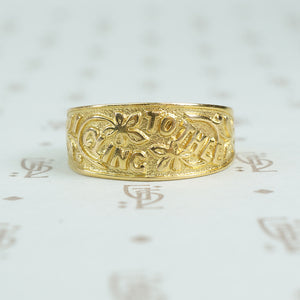 I cling to thee 9ct gold band c1878