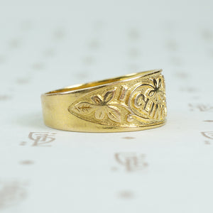 I cling to thee 9ct gold band c1878 side detail