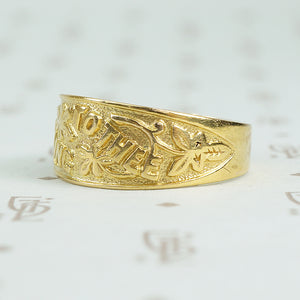 I cling to thee 9ct gold band c1878 side close up
