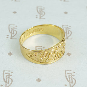 I cling to thee 9ct gold band c1878 top view