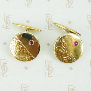 gilded 800 silver vintage cufflinks with rubies