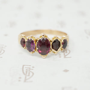 georgian 5 stone garnet ring