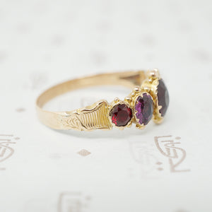 georgian 5 stone garnet ring side view