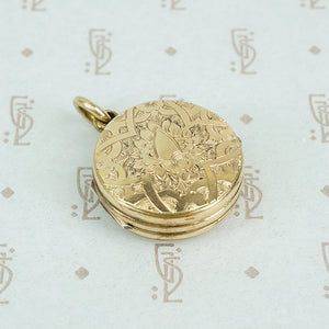 9ct locket with a 6 pence