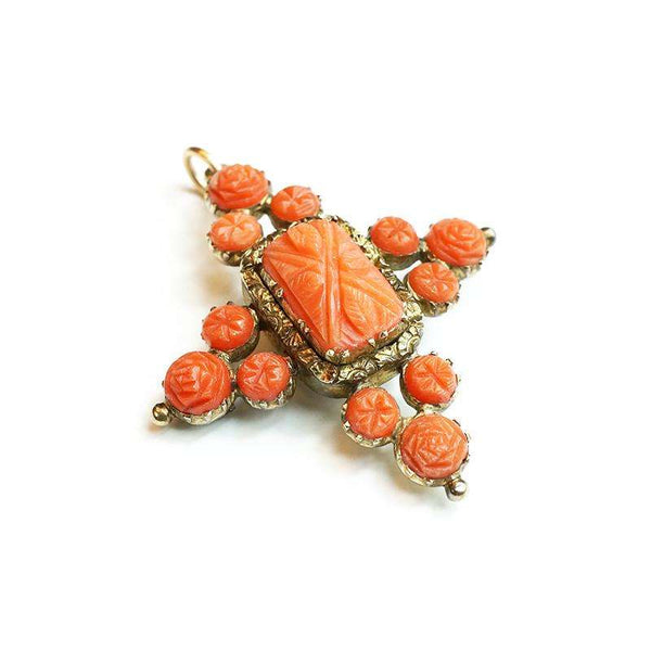 Georgian Carved Coral Locket pendant Brooch