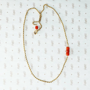 gold and coral rope chain