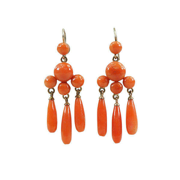 antique red coral drop earrings