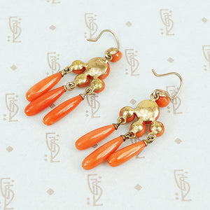 antique red coral drop earrings back