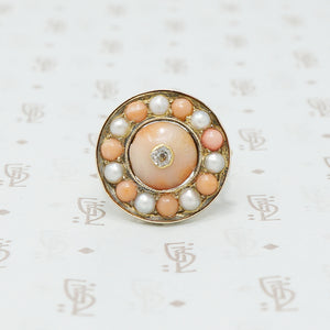 coral pearl and omc diamond button conversion ring