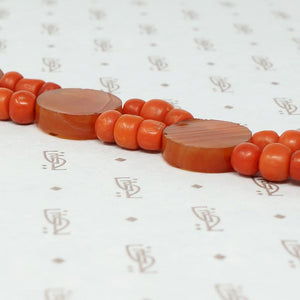 Antique Organic Bead and Carnelian Bracelet Cannetille 18k Clasp