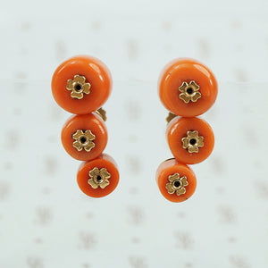 red coral and 14k yellow gold screw back earring ear climbers