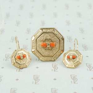 victorian gold filled coral pin and earrings set
