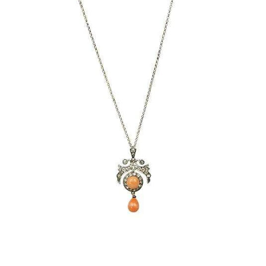 Belle Epoque Natural Coral Pendant in Silver with Paste