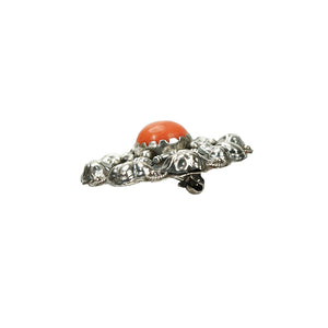 Silver and Coral Brooch with Fleur de Lis