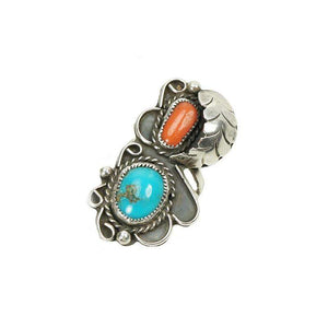 Turquoise and Coral Vintage Navajo Silver Ring