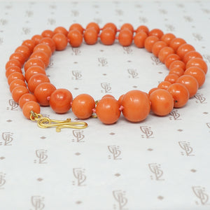 antique graduated strand of coral beads