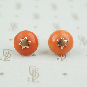 Antique Coral Button Stud Earrings with Stars
