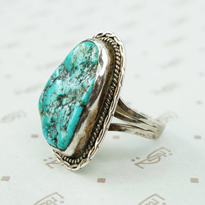turquoise and sterling signed cortez ring