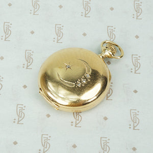 14k gold hunters case pocket watch with rose cut diamond set crescent moon and star