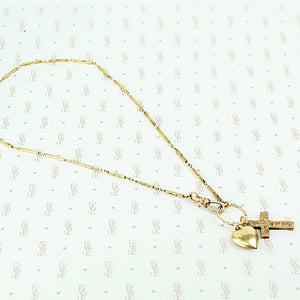 antique heart and cross fancy bar necklace