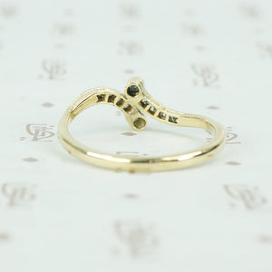 vintage diamond platinum and gold crossover ring back view