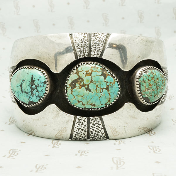 3 chunks of royston turquoise shadow set in coin silver cuff