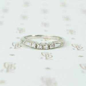 baguette and round diamond curved platinum band 1940's