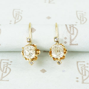 cushion cut and rose cut diamond drop earrings