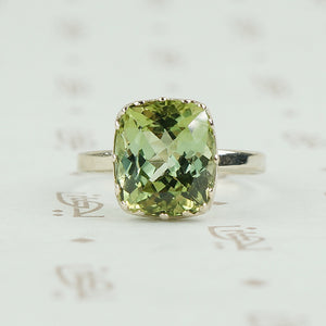 cushion cut pale green tourmaline white gold ring