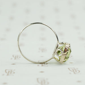 4 Carat Cushion Cut Green Tourmaline Ring in Recycled White Gold