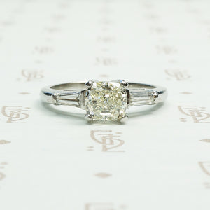 1 carat pale yellow brilliant cushion cut diamond in classic platinum setting circa 1950