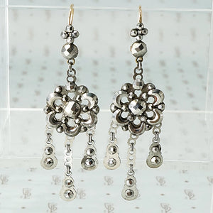 Glittering Cut Steel Earrings