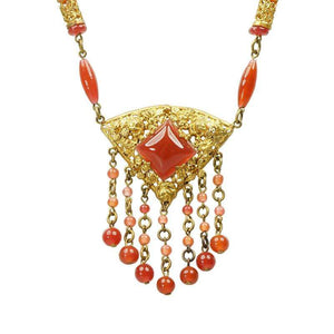 Elaborate Vintage Czech Necklace the Color of Carnelian
