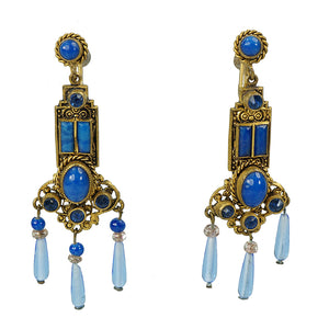 Czchoslovakian art glass and brass screw back earrings