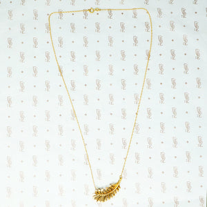 gold vintage feather necklace