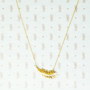 gold vintage feather necklace back