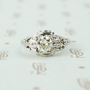 art deco white gold oec diamond engagement ring