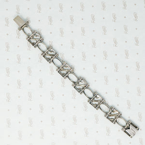 art deco sterling silver marcasite bracelet back view