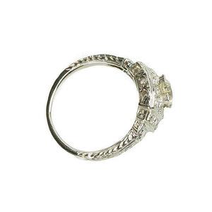 Step Side Deco Diamond Engagement Ring